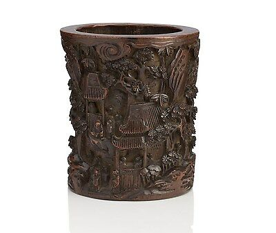 A rare and fine deeply carved Chinese antique bamboo brushpot