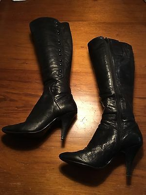 Black Leather Knee High Boots by Nine West