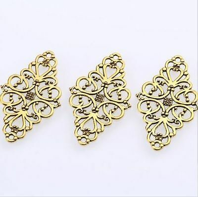 10/100Pcs Gold Plated Hollow Filigree Flower Connectors Pendant Charms 41x24mm