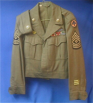 WWII US Army Sergeant's Brown Wool Uniform with Hat,  44th Infantry Division