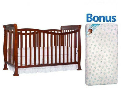 Convertible Baby Crib 7-in-1 With Bonus Mattress Violet Toddler Kid Nursery Bed