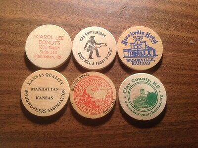 Wooden Nickels- various from Kansas -lot of 6
