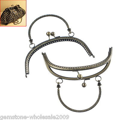 1PC Bronze Tone Metal Purse Bag Frame Kiss Clasp Lock With Handle B35598 GW