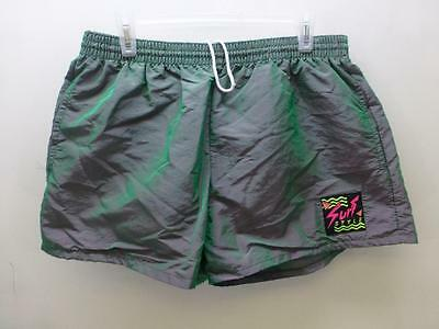 Vtg 80s Surf Style iridescent neon lined board Shorts trunks boardies mens sz XL