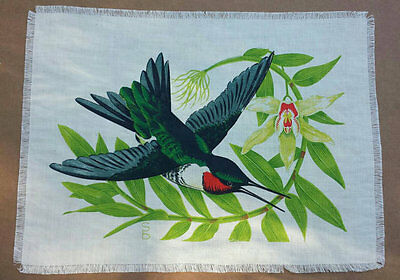 Two Bright Signed Vintage Hummingbird Prints on Linen