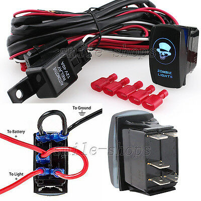 12v on off switch control wiring harness kit relay front fog work12v on off blue laser zombie light rocker switch wiring harness relay fuse