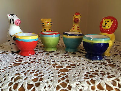 Set Of 4 Novelty Hand Painted Porcelain Zoo Animal Egg Cups Kitchen Display