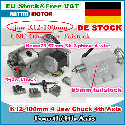 DE CNC Router Rotary Fourth axis,4th Axis K12-100mm 4 Jaw Chuck & 65mm tailstock