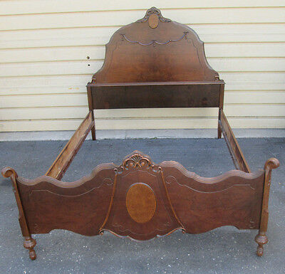 58270  Antique Walnut Full size Bed w/ Rails