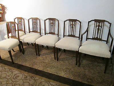 58035 Set 6 Inlaid mahogany Dining Chair s Chairs
