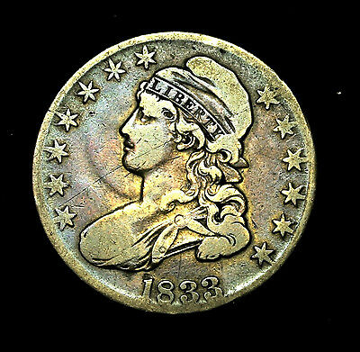 1833 ~**NICE TONE**~ Silver Capped Bust Half Dollar Antique US Old Coin! #461
