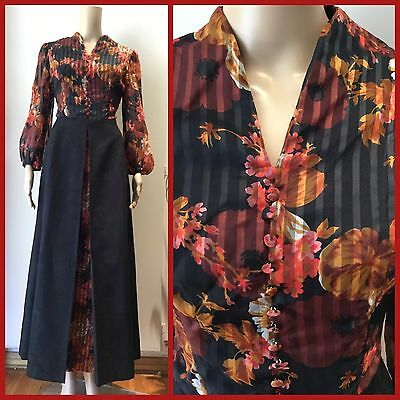 VINTAGE 70's Autumn Colours FLOOR LENGTH Hostess MAXI DRESS Retro Gown S