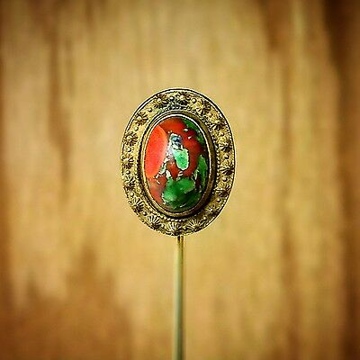 Antique Men's Brass Victorian Stick Pin with Foiled Glass Cabochon