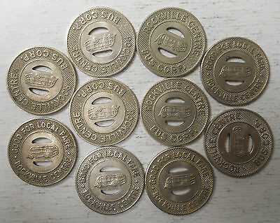 Lot of 10 Rockville Centre Bus Corp. (New York) transit tokens - NY785A