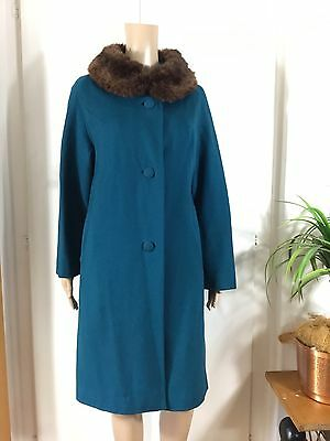 VINTAGE 1960's Pure Wool TEAL/TURQUOISE WINTER SWING COAT Real Fur Collar 12