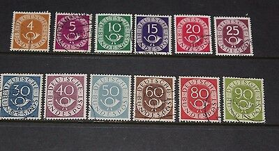 Germany 1951 Posthorns Issues In S/set Of 12 To 90Pf Fine Used