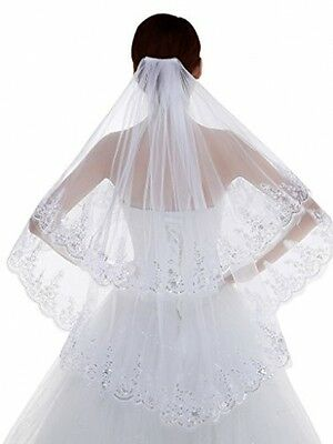 Edith Qi 2 Tier Lace Silver Lined Beaded Edge Fingertip Length Bridal Wedding