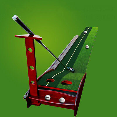 Newest Golf Putting Green Auto Return 2 Holes Practice Mat Indoor Useful Aid