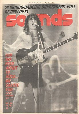 SOUNDS U.K. Magazine AC/DC ANGUS YOUNG Jan 1982 RUSH RY COODER