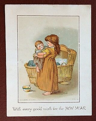 Vintage New Year Greeting Card - Child With A Baby