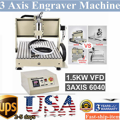 3 Axis 1.5KW 6040 CNC Router engraver engraving Drill Milling Machine 3D+MACH3