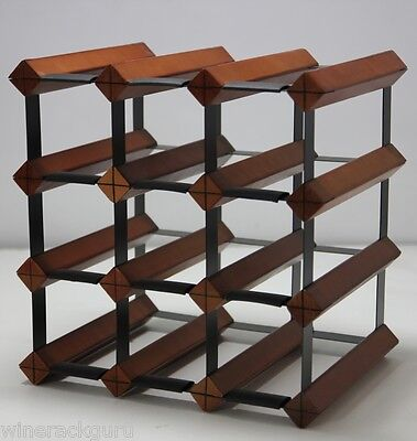 12 Bottle Timber Wine Rack -  Mahogany - Your Complete Home Wine Storage
