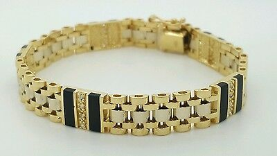 14K White & Yellow Gold Two Tone Black Onyx & Diamond Mens Link Bracelet 8 Inch
