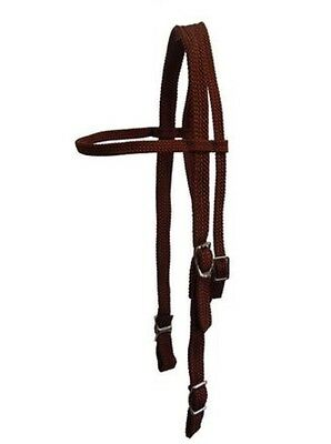 Western Tubular Braided Bridle - Black Brown Blue Or Red~Pony Cob Or Full *NEW