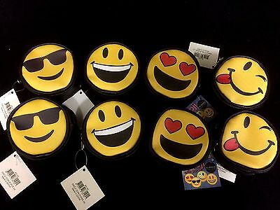 4 Expression Face Emoji Yellow Black Coin Zip Purse Wallet 8 x 8 x 4cm New