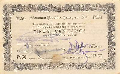Philippines  50 Centavos  5.8.1942  WWII  Emergency Issue  Uncirculated Banknote