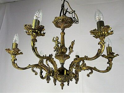 French Hollywood Regency Chandelier Light Ornate 6 arm Putti Angels Brass