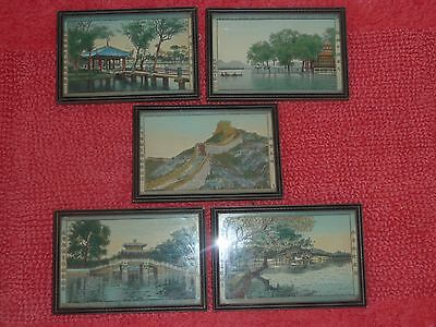"""Vintage Chinese scene silk """"The Great Wall of China"""" Tapestry Chine view 5 LOT."""