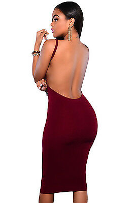 Mini Abito schiena aperta Nudo Party Cocktail Ballo open Back dress clubwear L