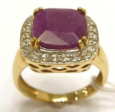 Syjewellery Nice 10Ct Yellow Gold Natural Ruby & Diamond Ring Size N  R734