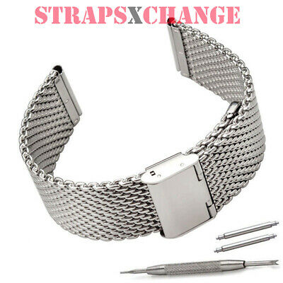 22mm SHARK WIRE MESH BRACELET WATCH BAND Divers Strap for Seiko & Citizen