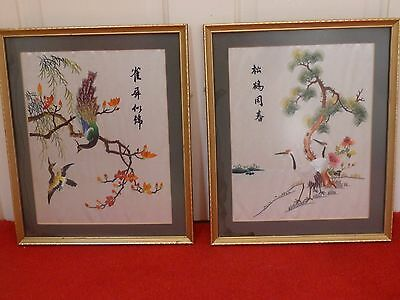 Vintage A Pair Chinese Silk Embroidery Hand Made Embroidered Signed Frame Glaze