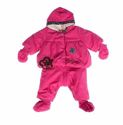 CATIMINI Baby Girl Pink Cotton Winter Suit/Jacket with HOOD (Size 6 Months) *NEW
