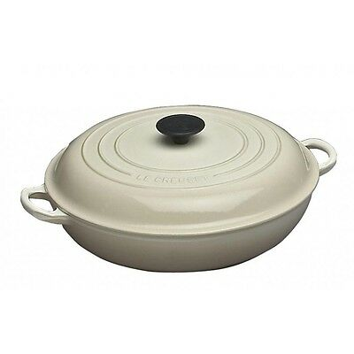 Le Creuset Almond Cast Iron 30cm Shallow Casserole BRAND NEW IN BOX