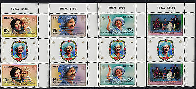 Belize 771-4 Gutter Pairs MNH Queen Mother 85th Birthday, Summit o/p