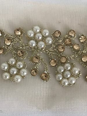 ATTRACTIVE GOLD SLIM INDIAN PEARL CRYSTAL FLOWERS ON NET TRIM/LACE-Sold by METRE