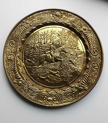 Large Brass Vintage Hunting Plaque/Tray/Picture Dogs Huntsman Horses
