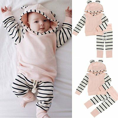 2PCS Newborn Baby Boy Girl Hooded Tops Shirt+Pants Legging Outfit Clothes Set