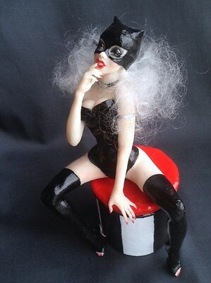 "OOAK Doll Girl  9"" Cat Woman Sculpture Polymer clay by Jane Rain"