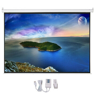 "100"" Electric Motorized Remote Projection Screen HD Movie Projector White 4:3"