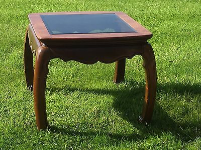 Oriental Style Glass Top Side Table