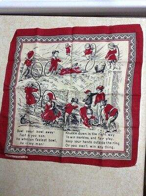1890's Bandana Handkerchief Red Washington S H Greene & Sons Children cat dog