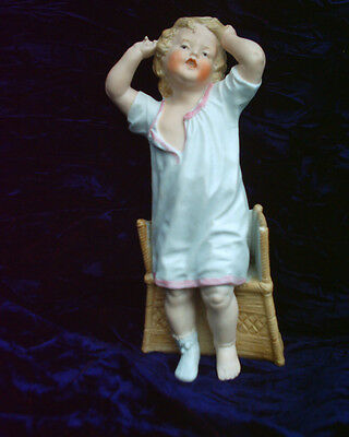 Rare Beautiful Heubach Gebruder Bisque Piano Baby Boy Doll Rising From Chair