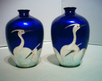 Rare Stunning Pair Of Antique Japanese Ginbari Vases Crane Pattern