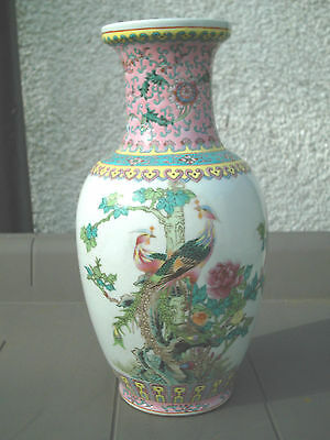 Rare Large Vintage Chinese Republican Bird Of Paradise Vase