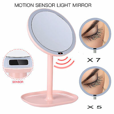 7X Magnifying LED Makeup Mirror Montion Sensor Light 360 Rotation Vanity Mirror